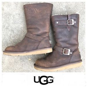 UGG Sutter Brown Distressed Leather Mid Calf Sz 6